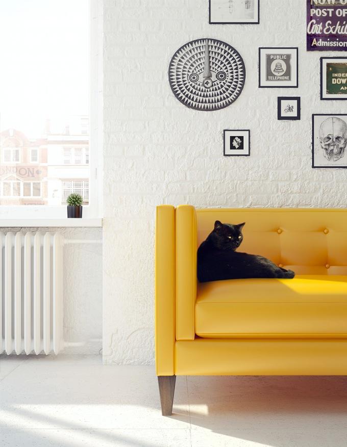 Как правильно подобрать современный диван желтого цвета