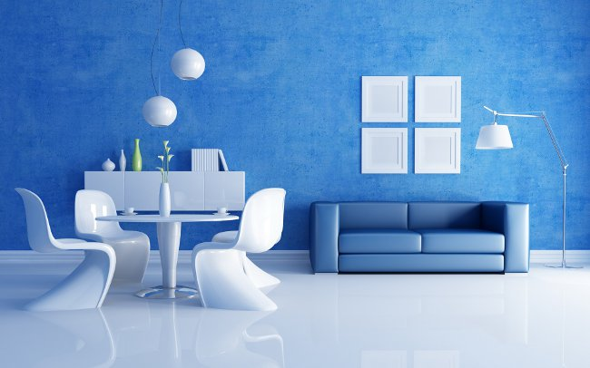 Как разместить синий диван в интерьере