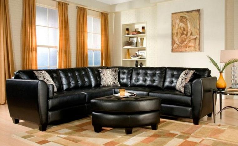 Классический дизайн дивана черного цвета