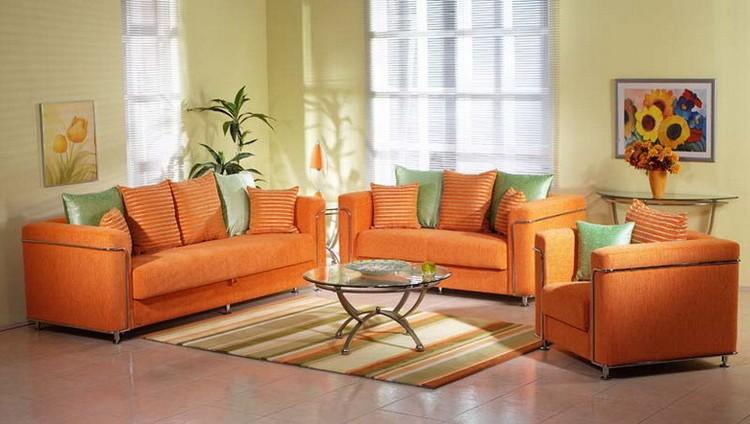 Классический дизайн дивана оранжевого цвета