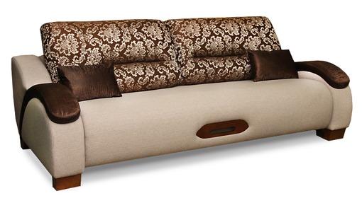 Коричневый диван в бежевых оттенках для гостиной