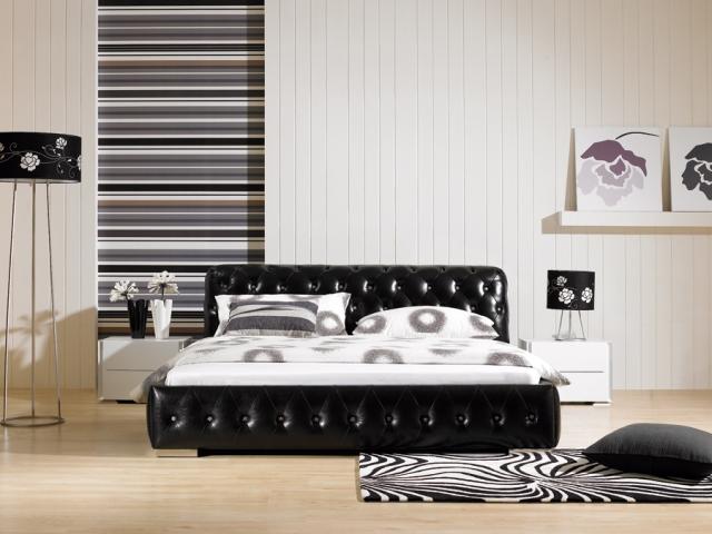 Кожаная шикарная черная кровать