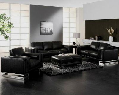 Кожаный диван черного приятного тона