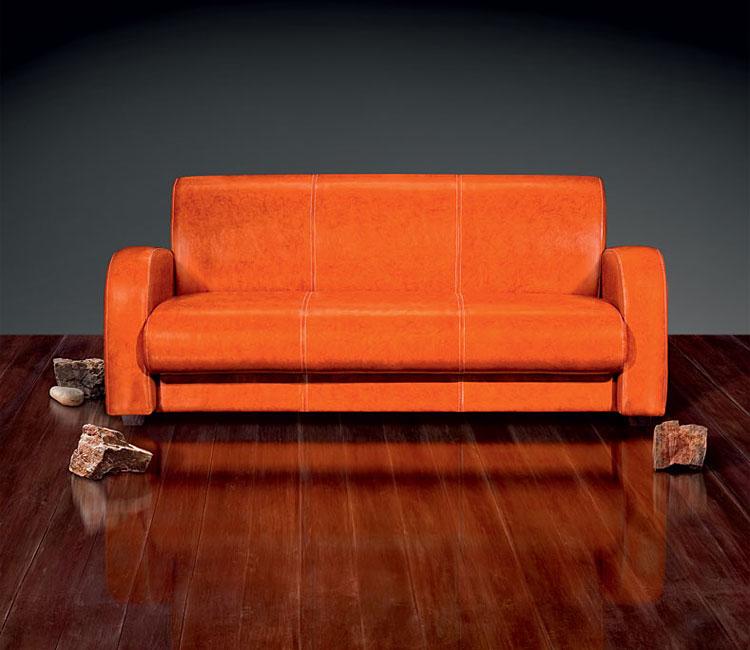 Кожаный оранжевый диван