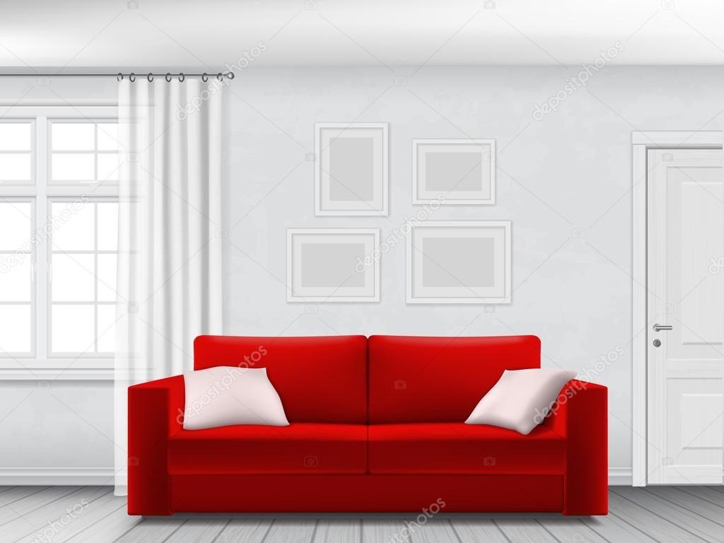 Красивый диван красного цвета
