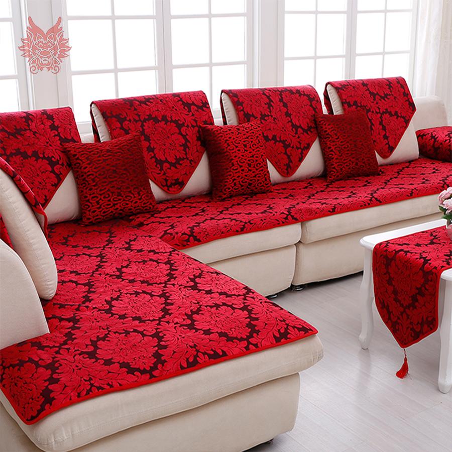 Красивый дизайн дивана красного цвета