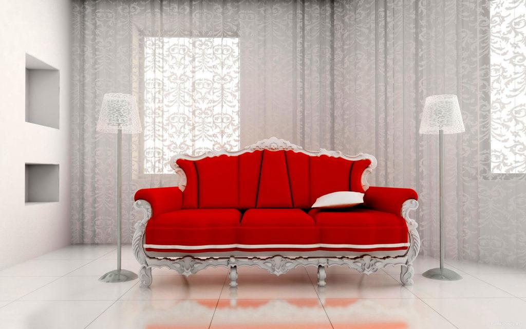 Красивый красный диван