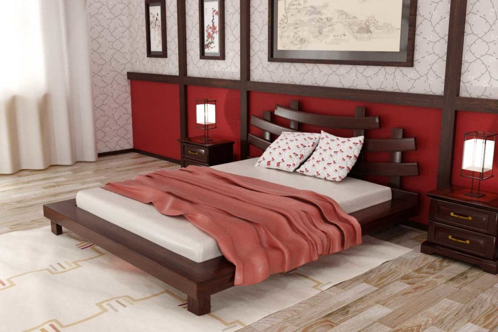 Красная кровать в стиле ноар