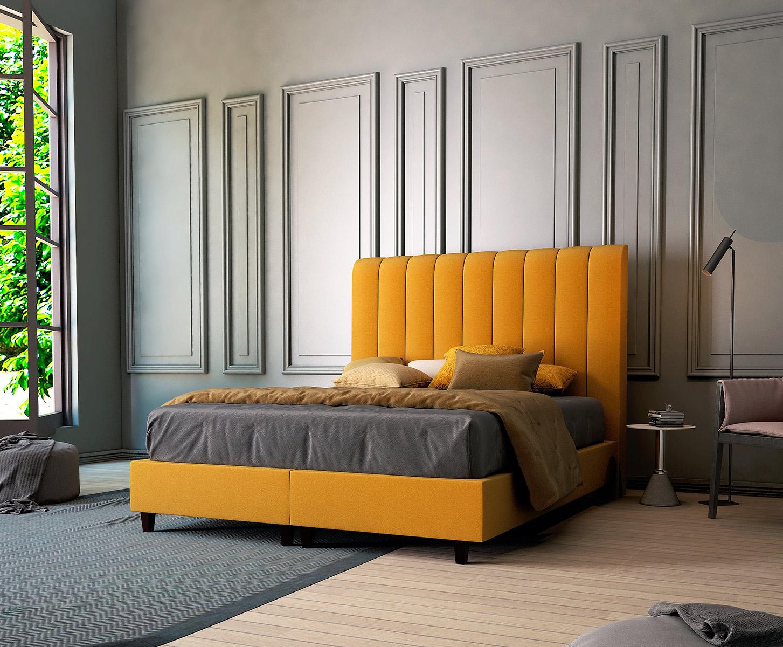 Кровать горчичного цвета