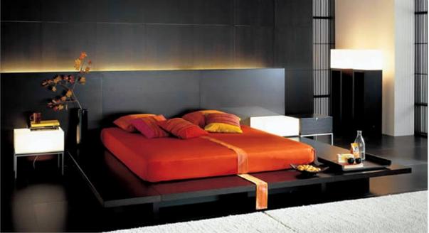 Кровать подиум красного цвета