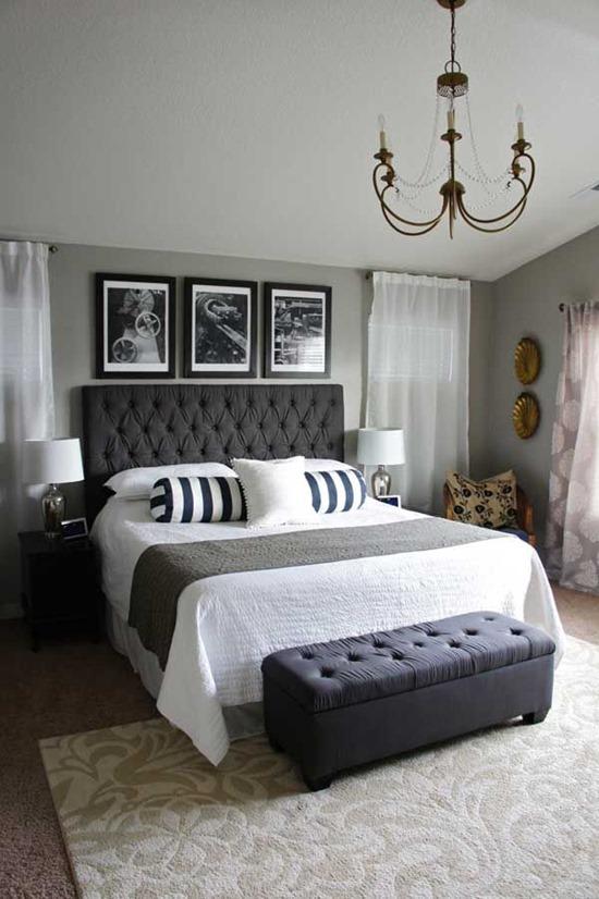 Кровать со стеганным изголовьем черного цвета