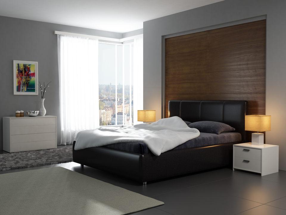 Кровать в интерьере черного цвета