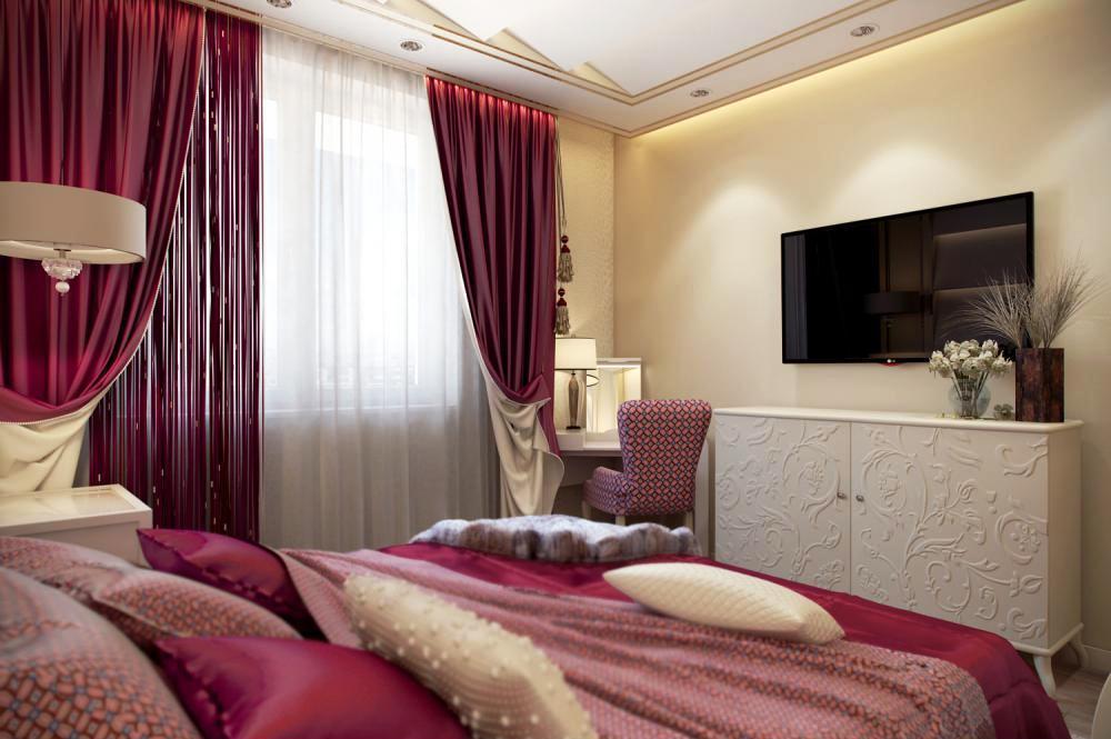 Кровать в насыщенном красивом бордовом цвете