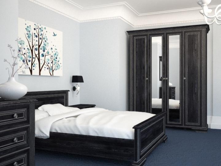 Кровать, выполенная в черном цвете