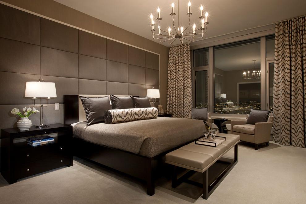 Кровать, выполненная в коричневом цвете