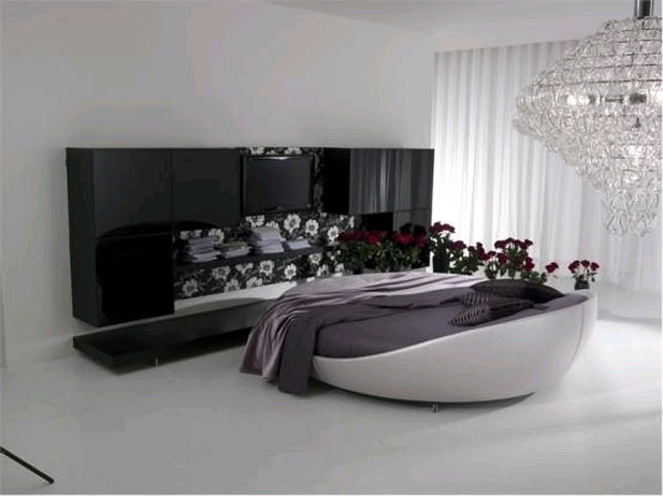Круглая кровать, выполенная в черном цвете