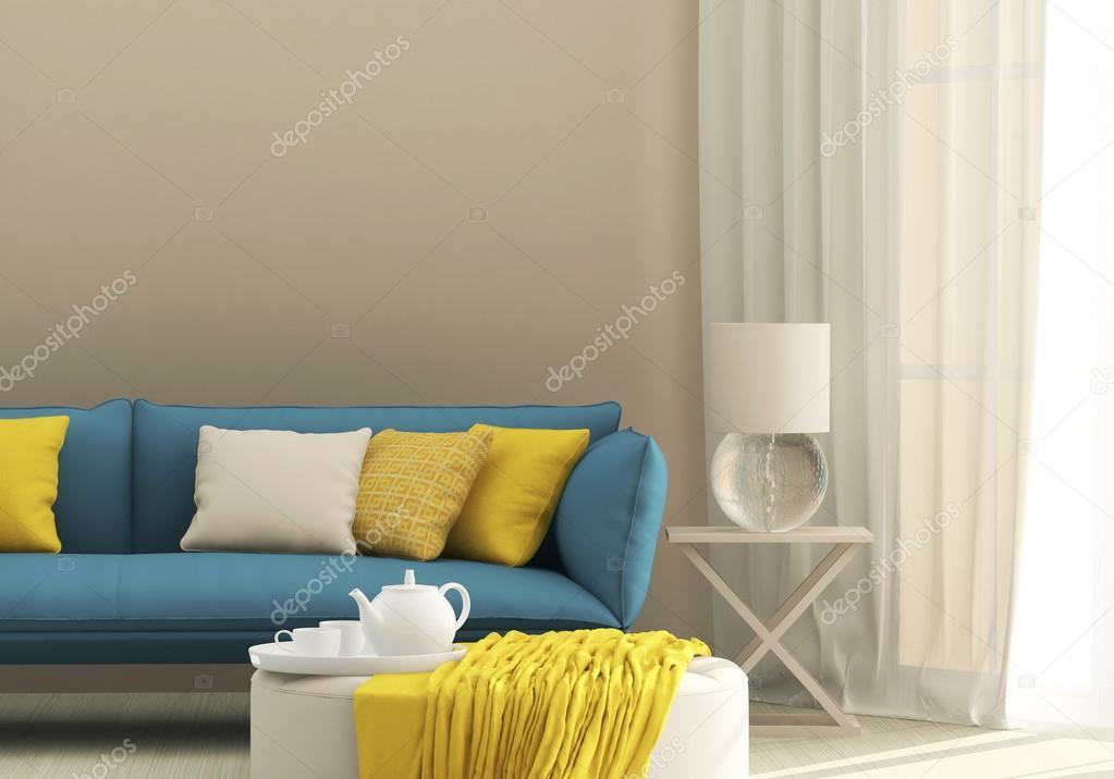 Легкий внешний вид дивана в синем цвете