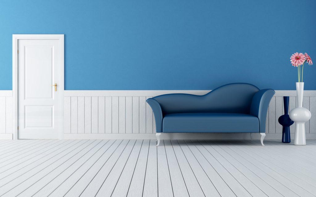 Маленький синий диван на ножках