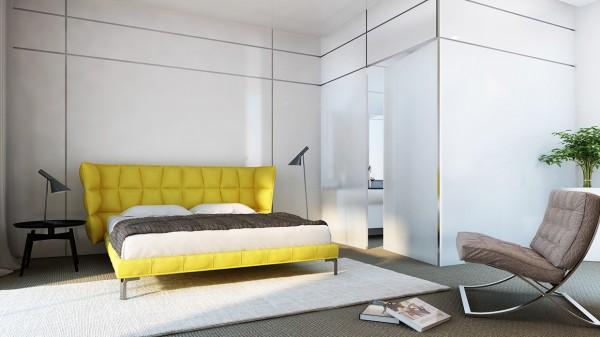 Минималистичный дизайн спальни с желтой кроватью