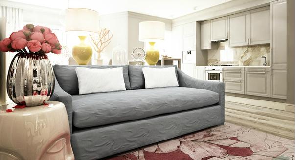 Модель дивана, выполенного в сером цвете