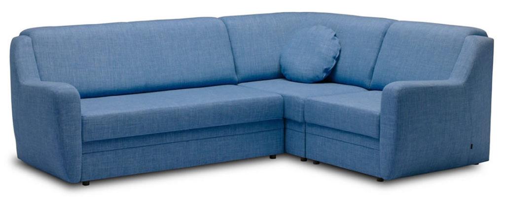 Модель углового дивана синего цвета