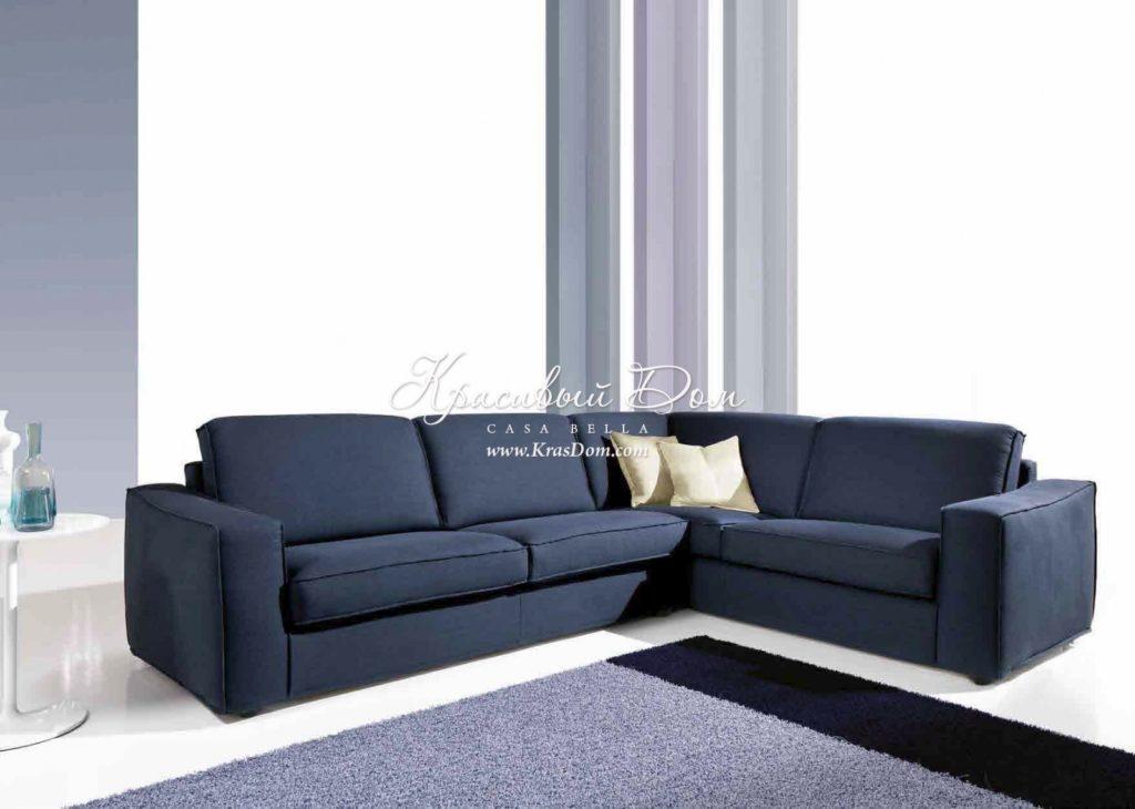Модульный темный диван для гостиной