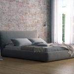 Кровать в сером цвете для спальни