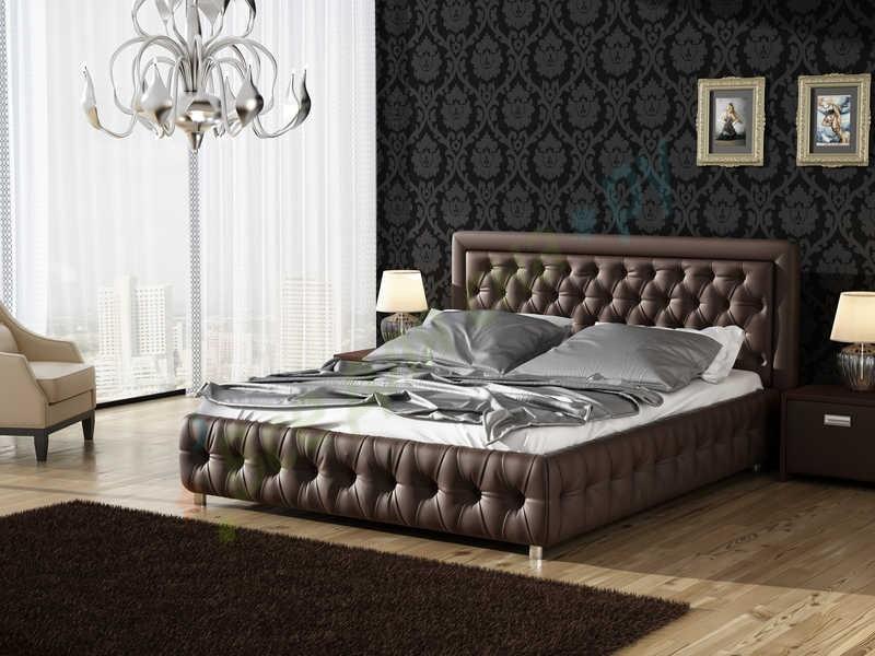 Мягкая кровать коричневая