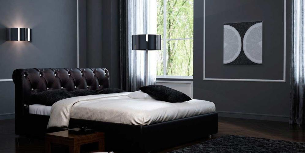 Насыщенный черный цвет современной кровати