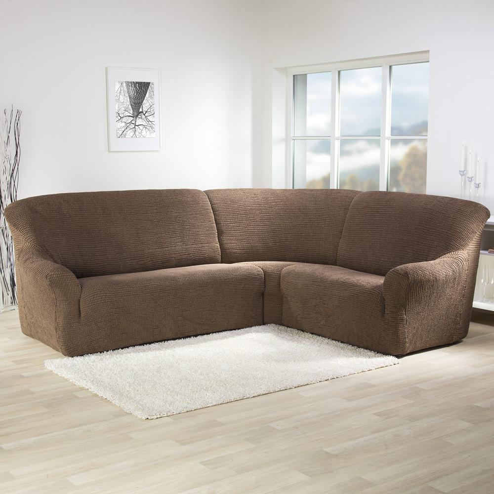 Натяжной чехол дивана в коричневом цвете