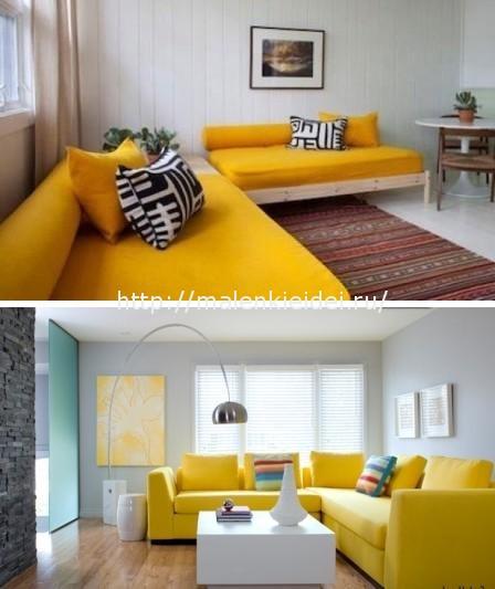 Несколько вариантов дивана желтого цвета