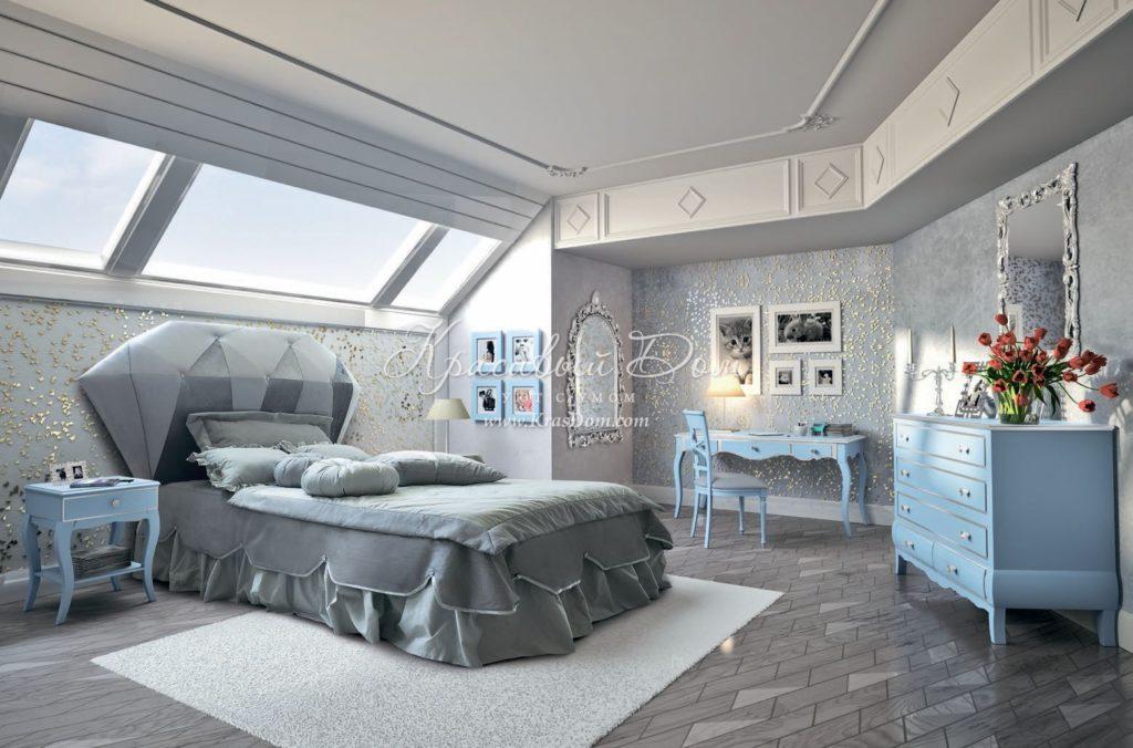 Оформление спальни с серой кроватью