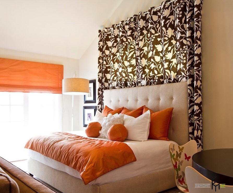 Оранжевые тона оформления кровати