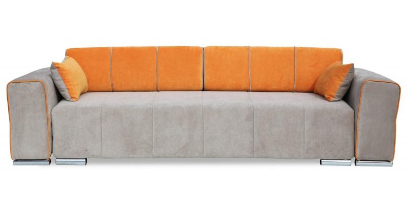 Оранжевый диван с серым приятным оттенком