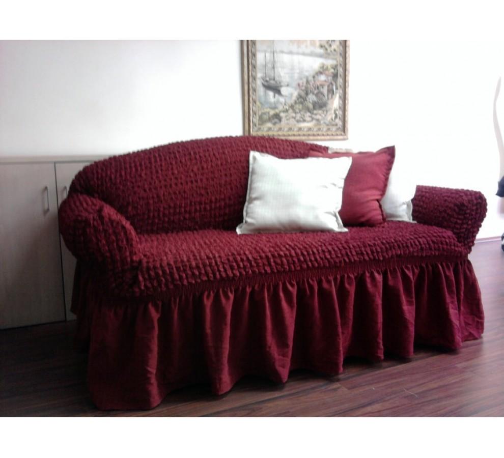 Практичный бордовый диван