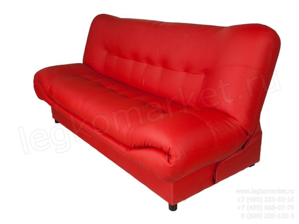 Практичный диван красного цвета для дома