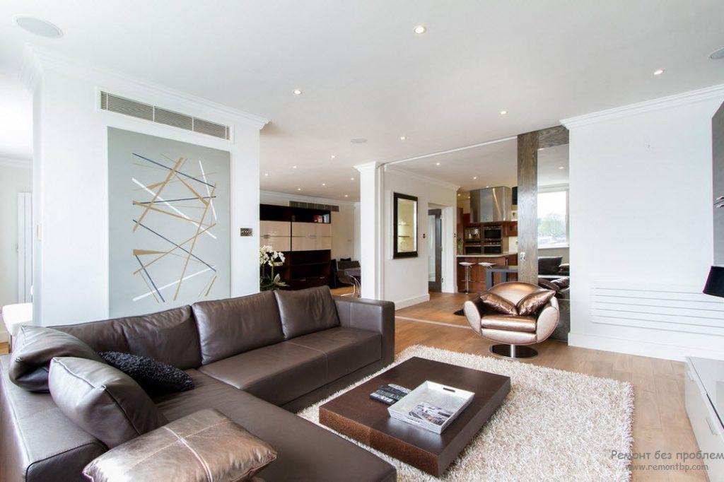 Пример дивана коричневого приятного цвета