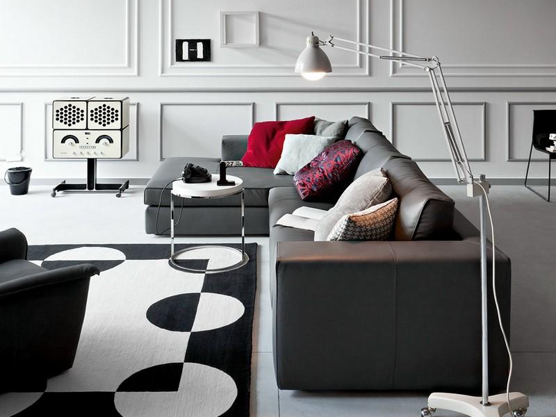 Пример использование темно-серого дивана