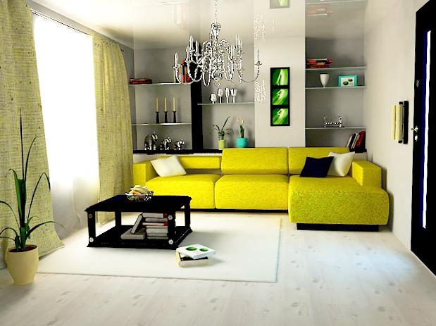 Пример насыщенного желтого дивана