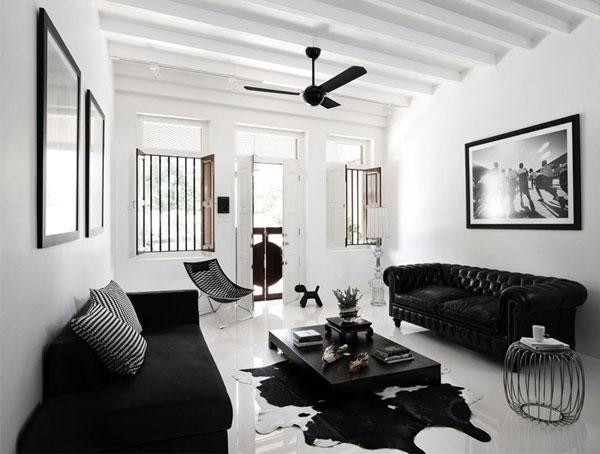 Пример применения черных диванов в дизайне