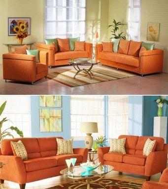 Примеры оформления интерьера с оранжевыми диванами