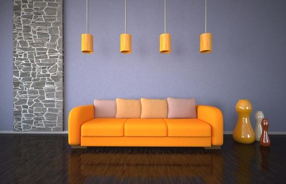 Приятный тон красивого оранжевого дивана