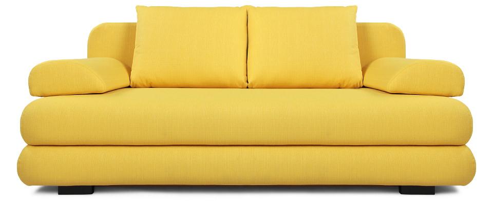 Прямой диван, выполненный в желтом цвете