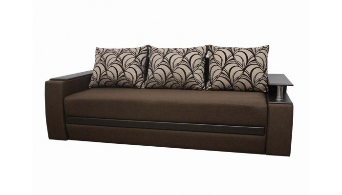 Прямой красивый диван коричневого цвета