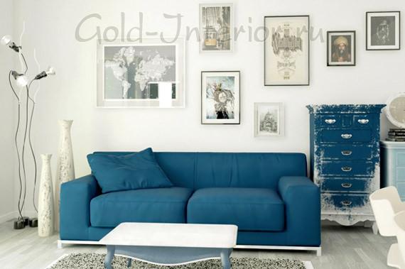 Прямой синий диван для дома