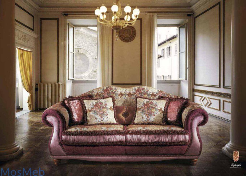 Раскладной диван бордового цвета