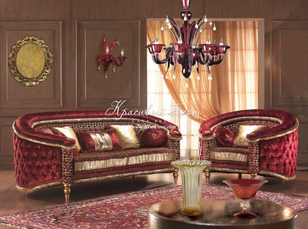 Шикарный бордовый диван в стиле барокко