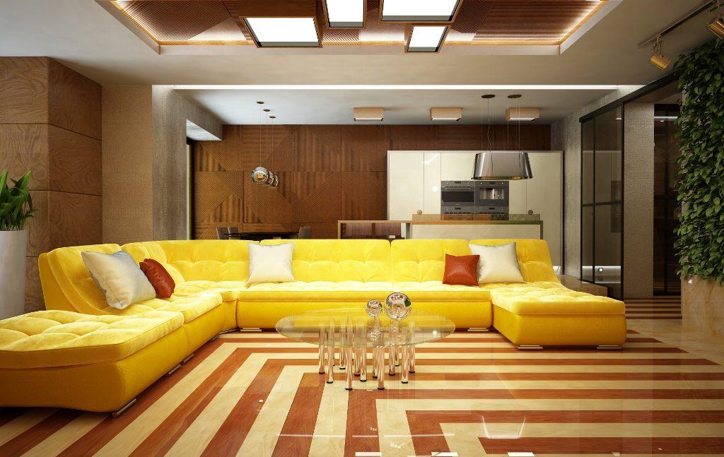 Шикарный желтый диван для дома