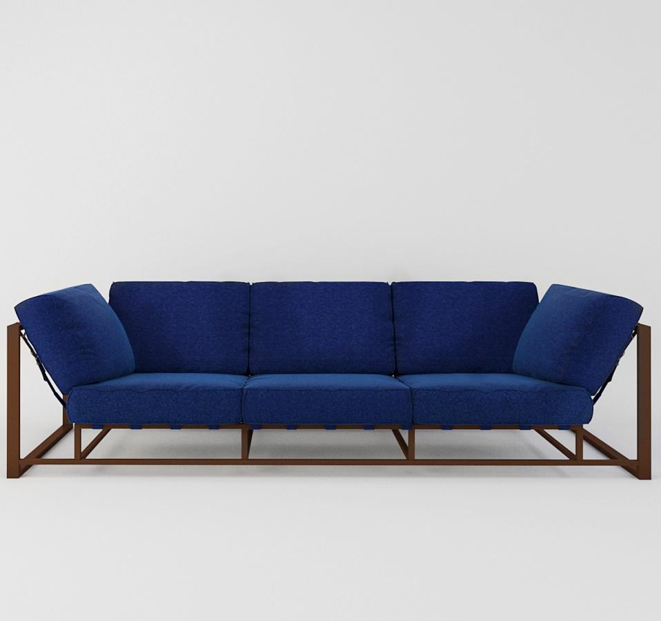 Широкий синий диван