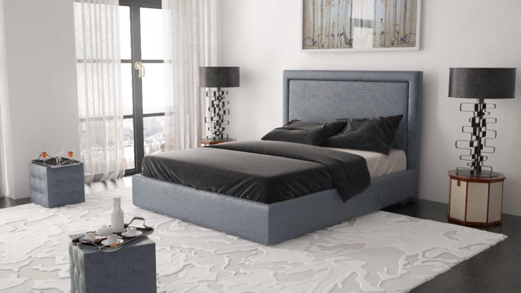 Серая кровать с синим оттенком